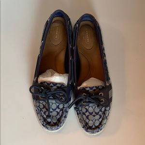 Blue & White Rochelle COACH Deck Shoes